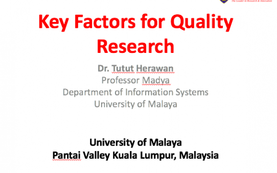 Key Factor for Quality Research