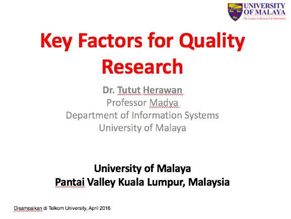 Key Factors for Quality Research